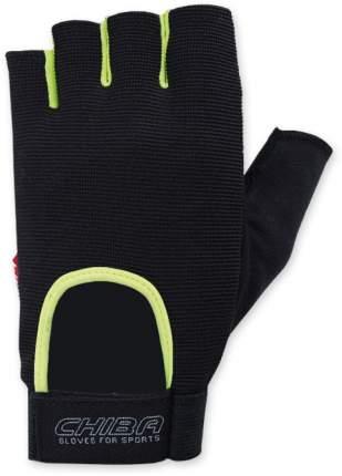 Перчатки для фитнеса мужские Chiba Allround Line Fit, черные/неон, S INT