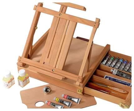 Масляные краски Maimeri Classico в деревянном ящике + настольный мольберт 13 цветов