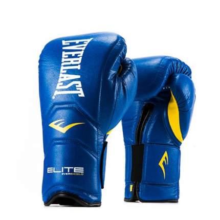 Боксерские перчатки тренировочные Everlast Elite Pro синие 14 унций