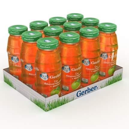 Сок Gerber яблочно-морковный с мякотью (первая ступень), 12 штук по 175мл.