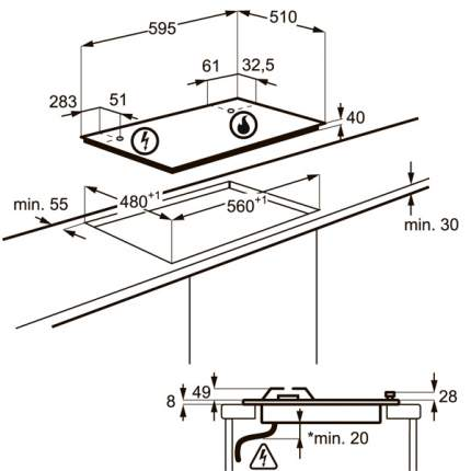 Встраиваемая варочная панель газовая Electrolux GPE363FW Silver