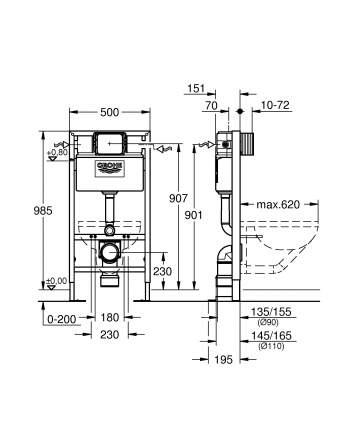 Система инсталляции для унитаза GROHE Rapid SL (1 м)