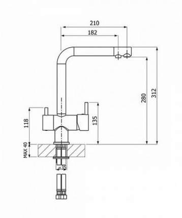 Смеситель для кухонной мойки Florentina FL-02 33.52L.2110.102 черный