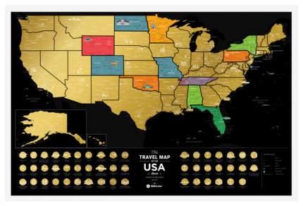 Географическая карта 1DEA.me Travel Map USA Black