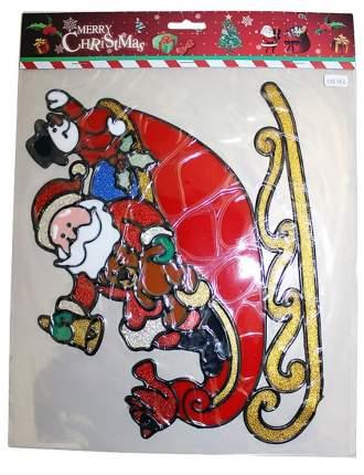 Наклейка на стекло Санта в Санях 27*31 см ST6382