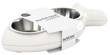 Двойная миска для кошек и собак Hing, пластик, сталь, белый, серебристый, 2 шт по 0.25 л