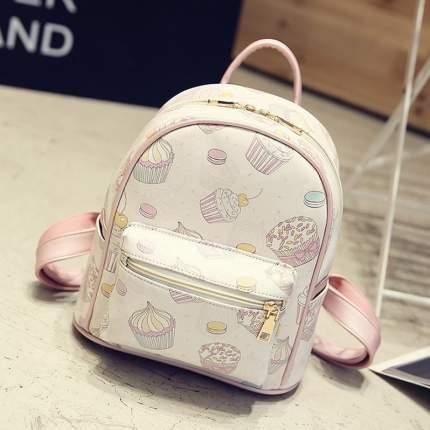 Городкой рюкзак женский Сладости бело-розовый