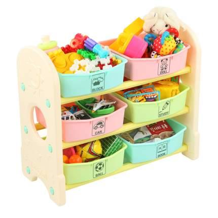 EDU PLAY Стеллаж для игрушек с ящиками,3 полки,Цветной(76х36х65.5)