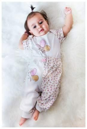 Ползунки - штанишки Папитто с манжетом Воздушные шарики цвет розовый, экрю р.22-68