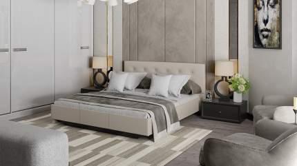 Кровать двуспальная Smart мебель Элис 160х200 см, бежевый