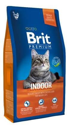 Сухой корм для кошек Brit Premium Indoor, для домашних, курица, 8кг