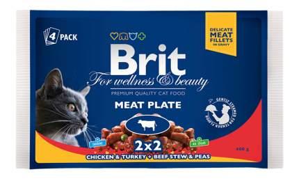 Влажный корм для кошек Brit Premium, мясо, 4шт, 100г