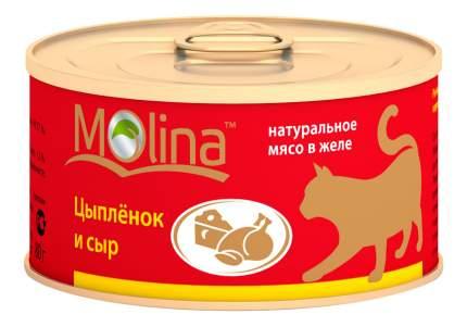 Консервы для кошек Molina, цыпленок, сыр, 12шт по 80г