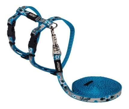 Комплект поводок и шлейка для кошек Rogz ReflectoCat XS-8мм 1,8 м (Синий CLJ240B)