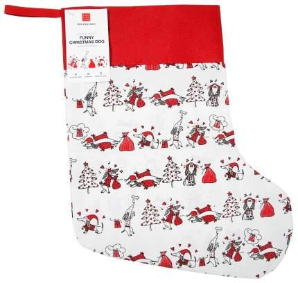Чулок для подарков Kuchenland Funny Christmas Dog красно-белый 39x28 см