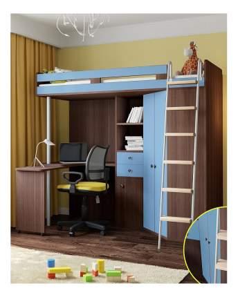 Кровать-чердак РВ мебель М-85 дуб шамони/голубой