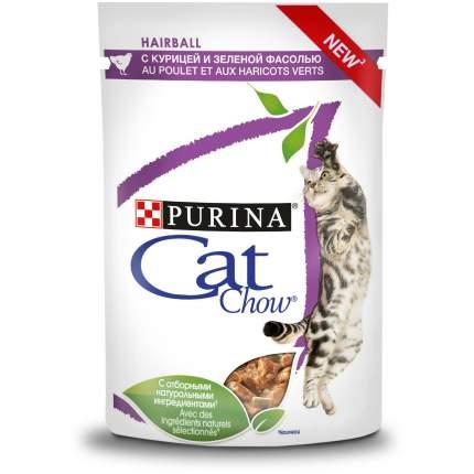 Влажный корм для кошек Cat Chow Hairball, с курицей и зеленой фасолью в соусе, 24шт по 85г