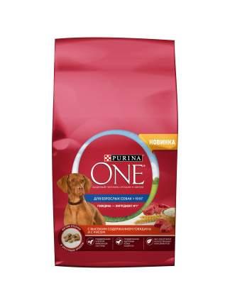 Сухой корм для собак Purina One Adult, говядина, рис, 2.5кг