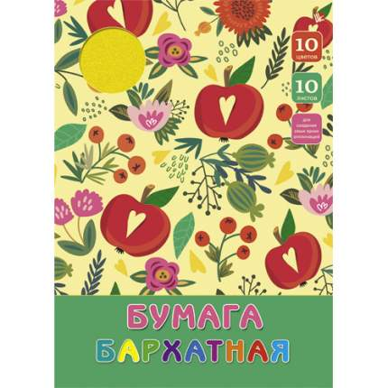 Бумага бархатная (А4, 10л, 10цв), ББ1010125