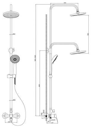 Душевые стойки Rossinka Silvermix B35-45