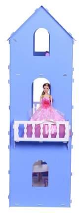 Коттедж Екатерина 262 бело-синий с мебелью Krasatoys