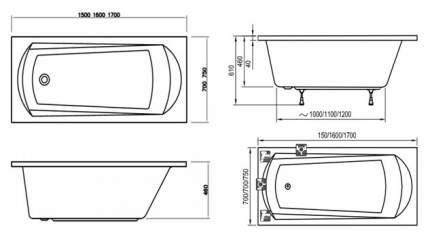 Акриловая ванна Ravak Domino 170х75 без гидромассажа