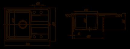 Мойка для кухни комбинированная Florentina Комби 650, антрацит