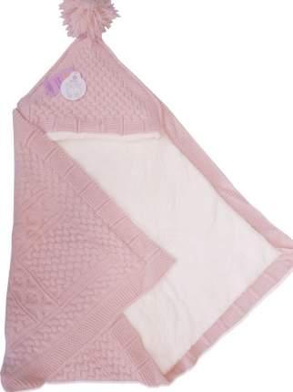 Конверт-одеяло Папитто вязаный  розовый 100*100 3-6мес 6214