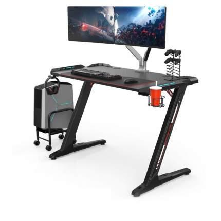Компьютерный стол (для геймеров) Eureka Z1 S с синей подсветкой, чёрный