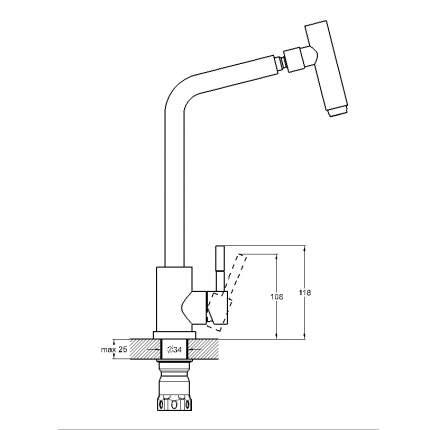 Смеситель для кухонной мойки SOLONE EZA4-C090