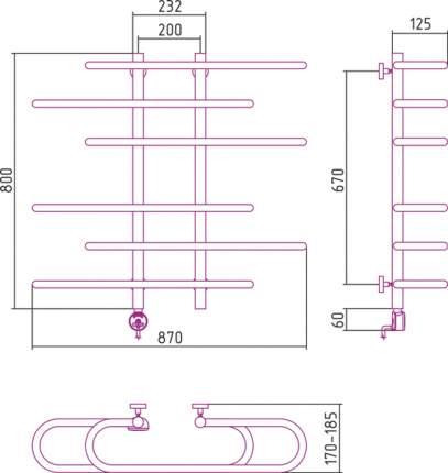 Полотенцесушитель электрический Фурор-Ёлочка 800х900 левый Сунержа