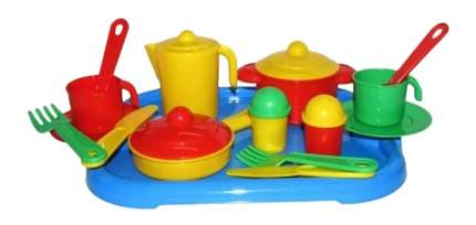 Набор посуды игрушечный Полесье Настенька с подносом на 2 персоны