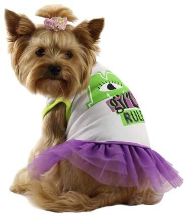Футболка, юбка для собак Triol размер L женский, белый, фиолетовый, длина спины 35 см