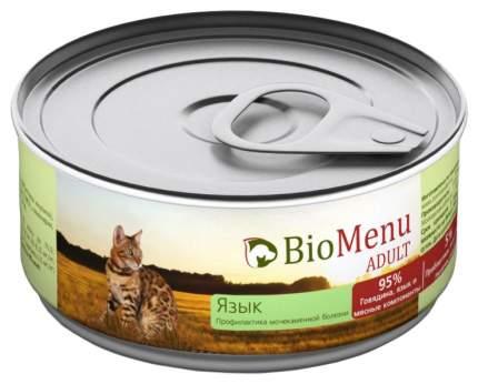 Консервы для кошек BioMenu Adult, мясной паштет с языком, 100г