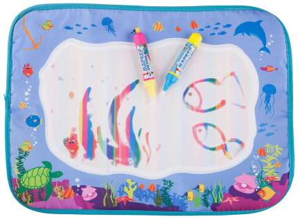 Коврик-водная многоразовая раскраска BONDIBON, МОРЕ, 2 ручки в наборе, 39х29 см.