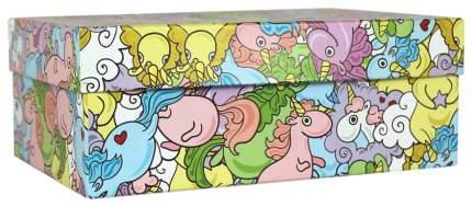 """Коробка подарочная """"Цветные единороги"""", 23 х 16 х 10 см"""