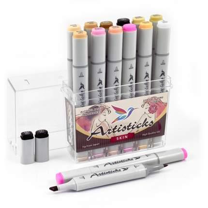 Набор спиртовых маркеров Artisticks Style SKIN 12 цветов 2-сторонние 1-6 мм