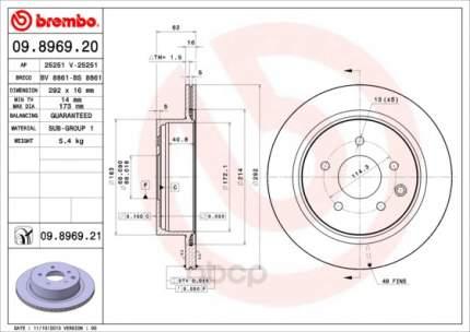 Тормозной диск brembo задний для 09896921