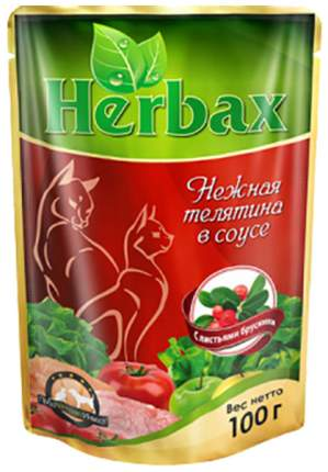Влажный корм для кошек Herbax, телятина, 24шт, 100г