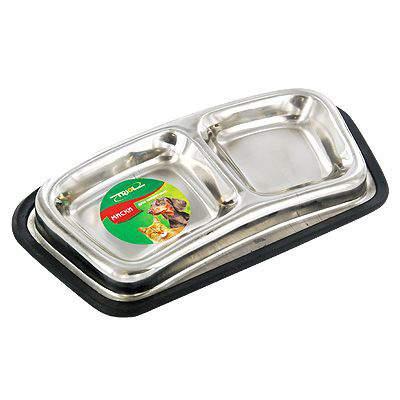 Двойная миска для кошек и собак Triol, резина, сталь, серебристый, 2 шт по 0.11 л