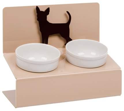 Двойная миска для кошек и собак Artmiska, керамика, пластик, белый, бежевый, 0.7 л