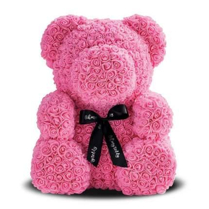 Мишка из роз розовый 40см + подарочная коробка