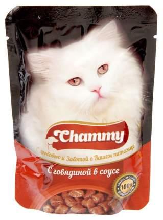 Влажный корм для кошек Chammy говядина в соусе, 85 г