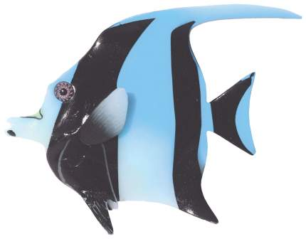 Декорация для аквариума JELLY-FISH Мавританская рыбка светящаяся, голубая, 16х13х2,2 см