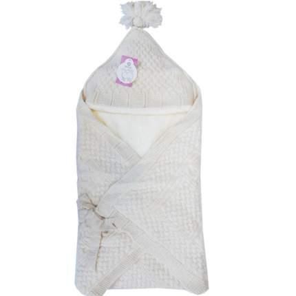 Конверт-одеяло Папитто вязаный  экрю 100*100 3-6мес 6214