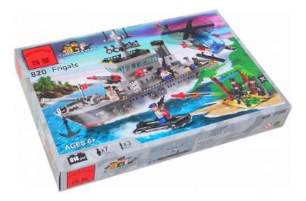Конструктор пластиковый Brick Военный корабль и вертолет