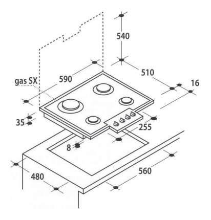 Встраиваемая варочная панель газовая Candy PGC 640SQBA Beige