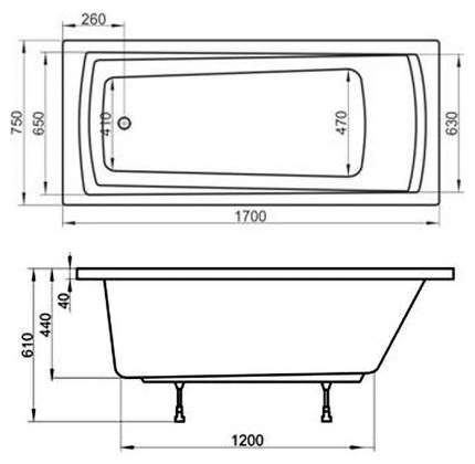 Акриловая ванна Ravak Domino Plus 170х75 без гидромассажа