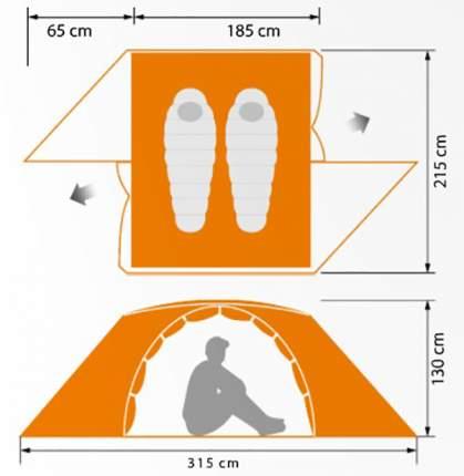 Палатка Norfin Begna Alu NS двухместная серая/оранжевая