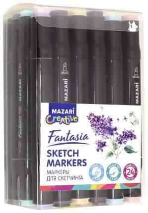 Набор маркеров для скетчинга Mazari «Fantasia» 24 цвета Серые пастельные